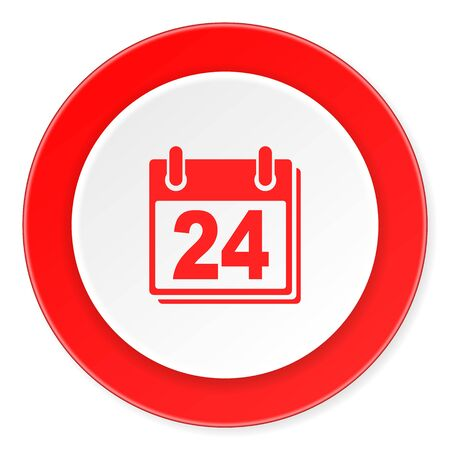 appointment book: calendar red circle 3d modern design flat icon on white background