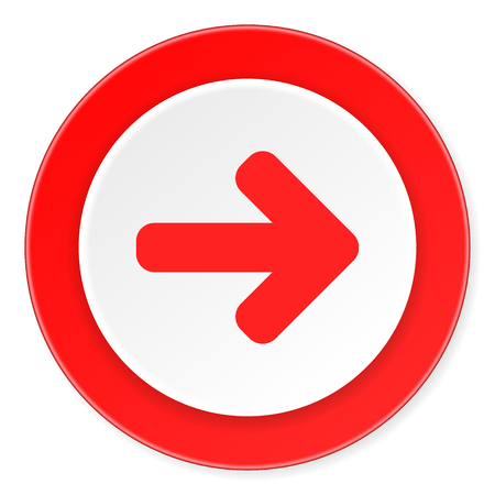 navigation panel: right arrow red circle 3d modern design flat icon on white background