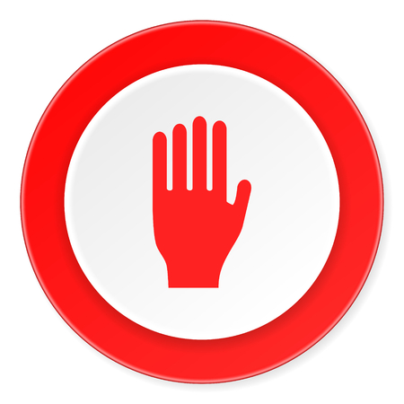 the coachman: stop red circle 3d modern design flat icon on white background