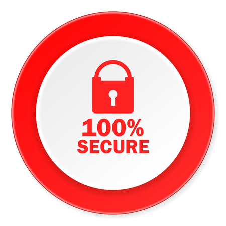 trusty: secure red circle 3d modern design flat icon on white background