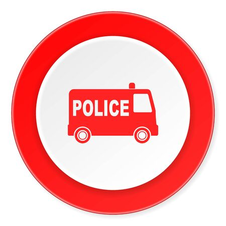 highway patrol: police red circle 3d modern design flat icon on white background