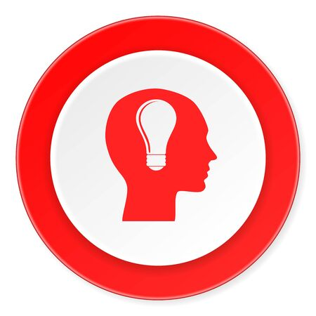 keen: head red circle 3d modern design flat icon on white background