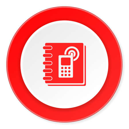 phonebook: phonebook red circle 3d modern design flat icon on white background Stock Photo