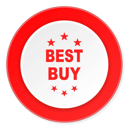 best buy: best buy red circle 3d modern design flat icon on white background Stock Photo