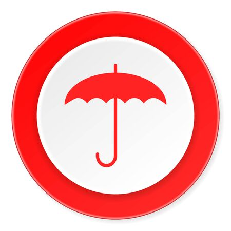 moist: umbrella red circle 3d modern design flat icon on white background