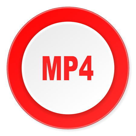 mp4: mp4 red circle 3d modern design flat icon on white background