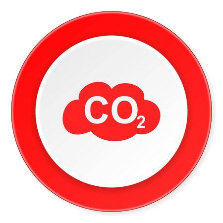 dioxido de carbono: el dióxido de carbono círculo rojo 3d diseño moderno icono de plano sobre fondo blanco Foto de archivo
