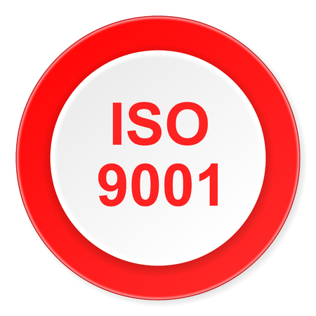 din: iso 9001 red circle 3d modern design flat icon on white background