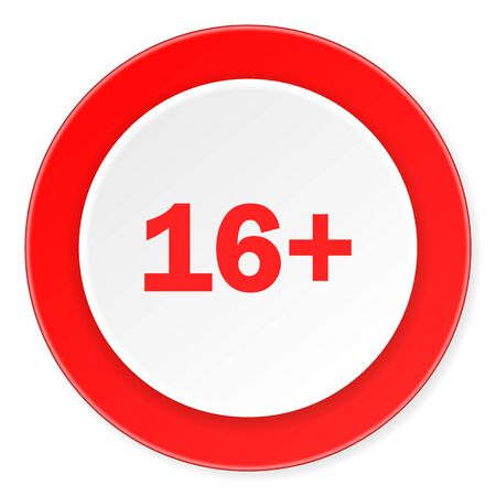 permitted: adults red circle 3d modern design flat icon on white background Stock Photo