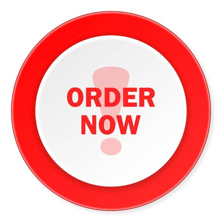 order now: order now red circle 3d modern design flat icon on white background