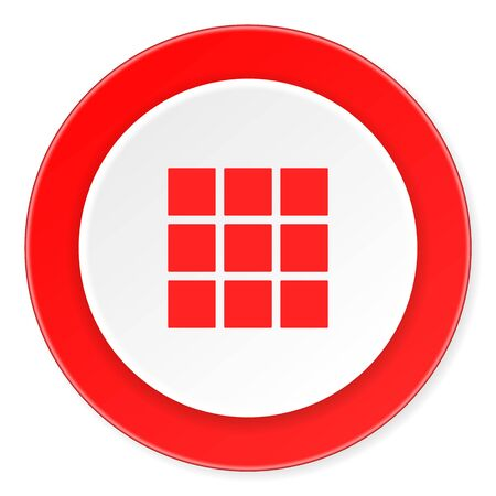 thumbnails: thumbnails grid red circle 3d modern design flat icon on white background Stock Photo