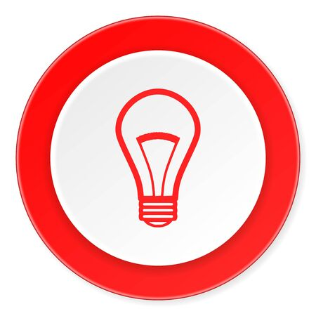 lighting button: bulb red circle 3d modern design flat icon on white background Stock Photo