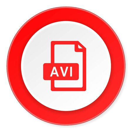 avi: avi file red circle 3d modern design flat icon on white background