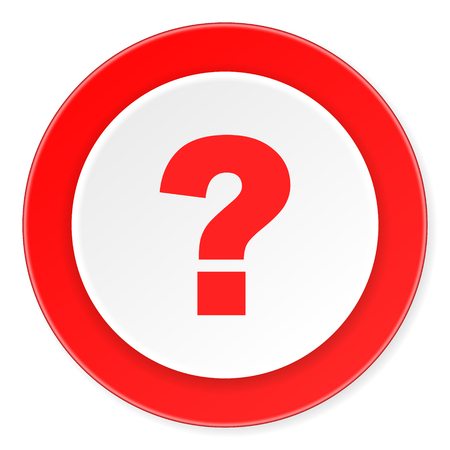 questioning: question mark red circle 3d modern design flat icon on white background Stock Photo