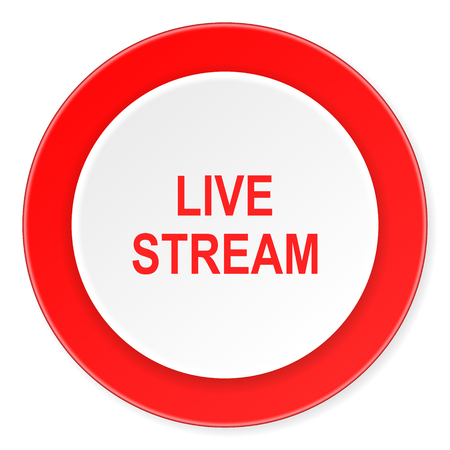 live stream: live stream red circle 3d modern design flat icon on white background Stock Photo