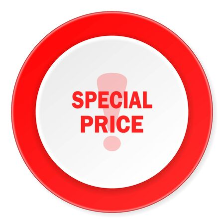 special price: special price red circle 3d modern design flat icon on white background