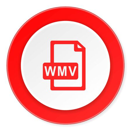wmv: wmv file red circle 3d modern design flat icon on white background