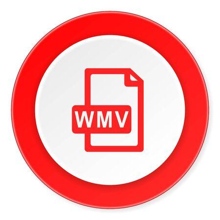 wmv: wmv file red circle 3d modern design flat icon on white background