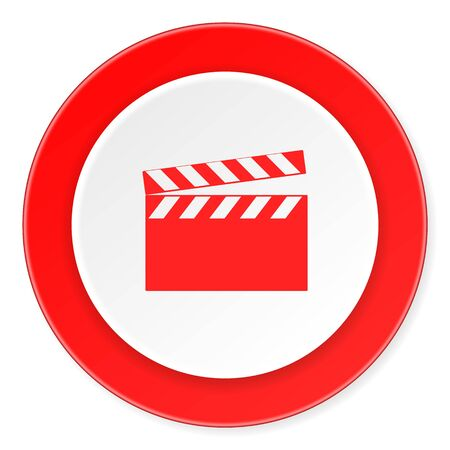 cinematograph: video red circle 3d modern design flat icon on white background