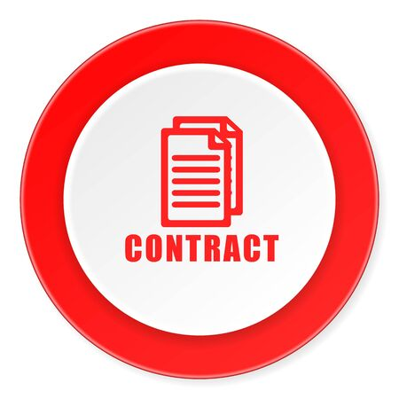 icom: contract red circle 3d modern design flat icon on white background Stock Photo