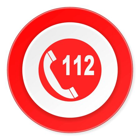 emergency call: emergency call red circle 3d modern design flat icon on white background Stock Photo