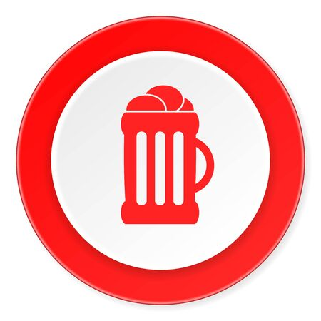 beer red circle 3d modern design flat icon on white background