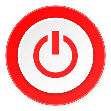 run off: power red circle 3d modern design flat icon on white background Stock Photo