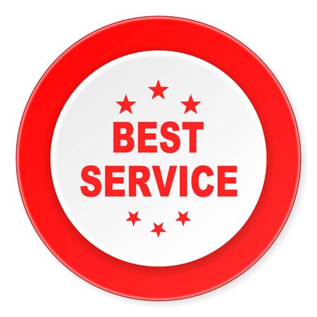 best service: best service red circle 3d modern design flat icon on white background