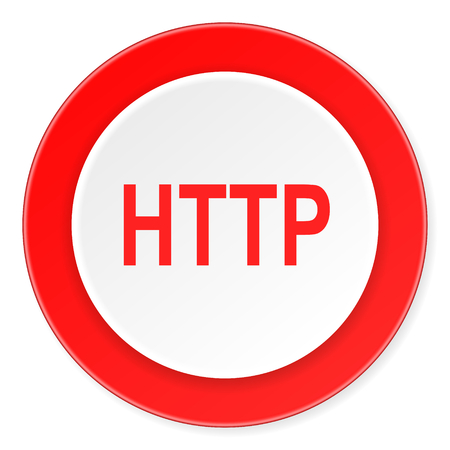 http: http red circle 3d modern design flat icon on white background