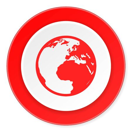 parallels: earth red circle 3d modern design flat icon on white background