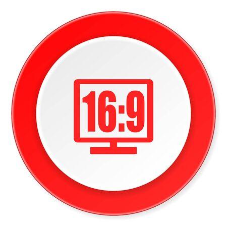 16 9 display: 16 9 display red circle 3d modern design flat icon on white background