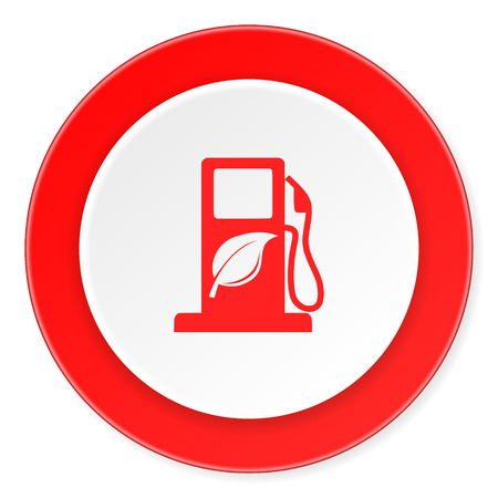 biofuel: biofuel red circle 3d modern design flat icon on white background