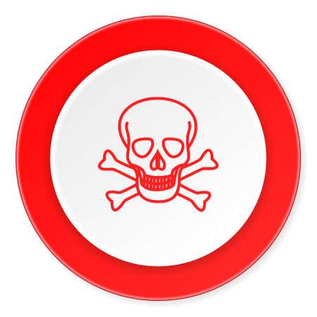 pirating: skull red circle 3d modern design flat icon on white background