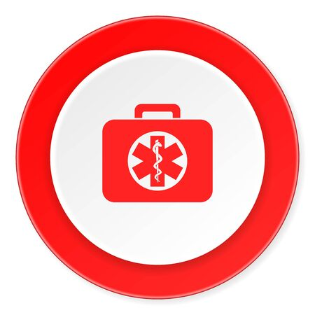 rescue circle: rescue kit red circle 3d modern design flat icon on white background
