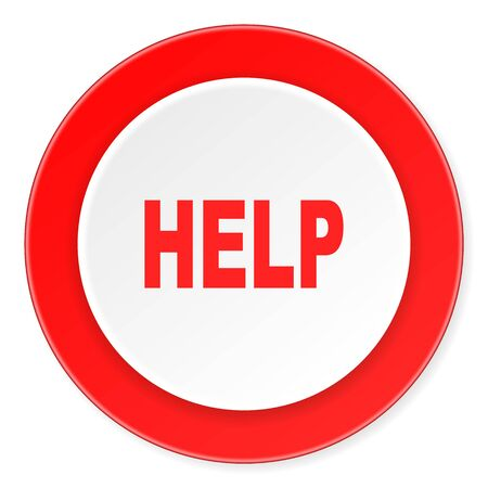 helps: help red circle 3d modern design flat icon on white background Stock Photo