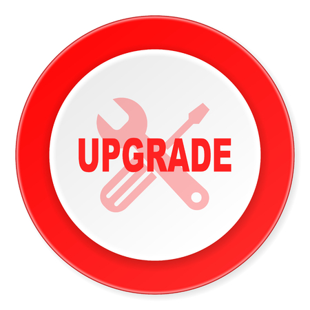 refreshed: upgrade red circle 3d modern design flat icon on white background Stock Photo