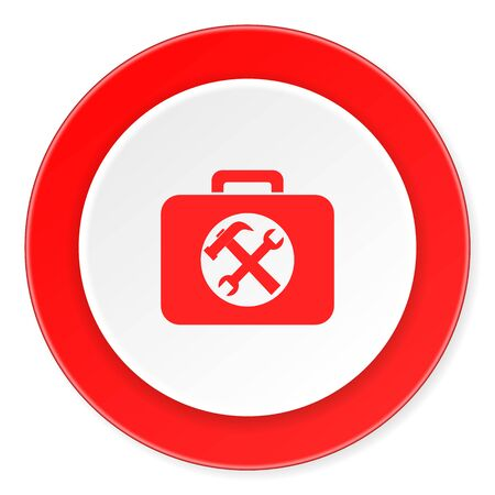 toolkit: toolkit red circle 3d modern design flat icon on white background