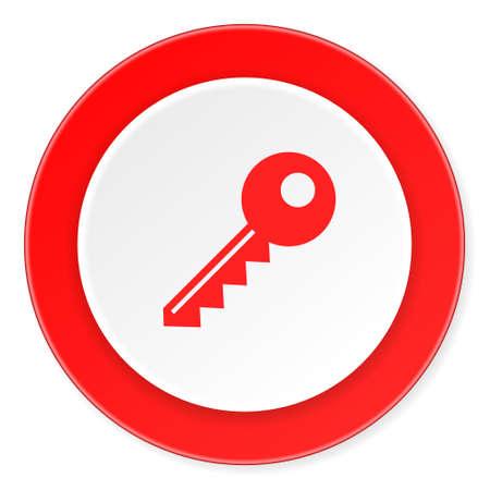 closure: key red circle 3d modern design flat icon on white background Stock Photo