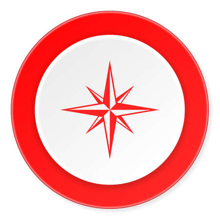 geodesy: compass red circle 3d modern design flat icon on white background Stock Photo