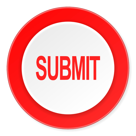 submit red circle 3d modern design flat icon on white background