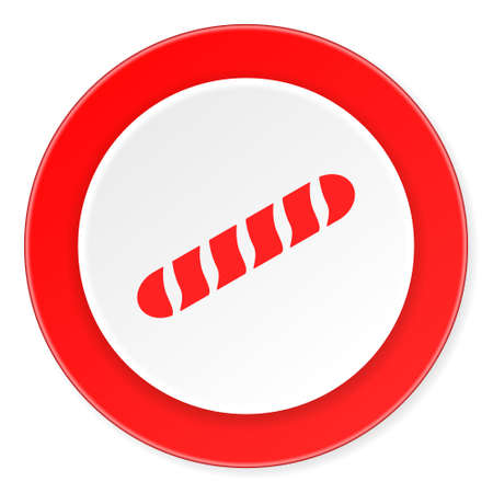 crusty: baguette red circle 3d modern design flat icon on white background