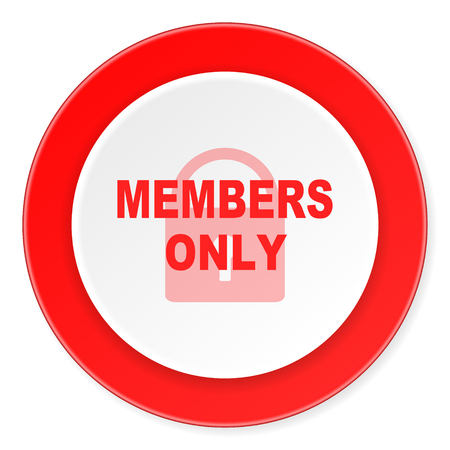 members only: members only red circle 3d modern design flat icon on white background