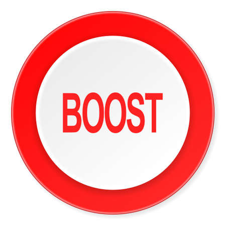 boost: boost red circle 3d modern design flat icon on white background