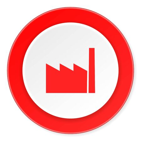 industrialist: factory red circle 3d modern design flat icon on white background