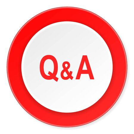 question and answer: question answer red circle 3d modern design flat icon on white background