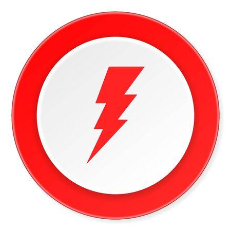 high voltage symbol: bolt red circle 3d modern design flat icon on white background