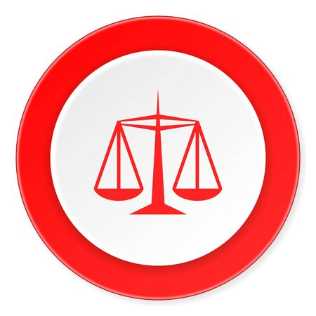 injustice: justice red circle 3d modern design flat icon on white background