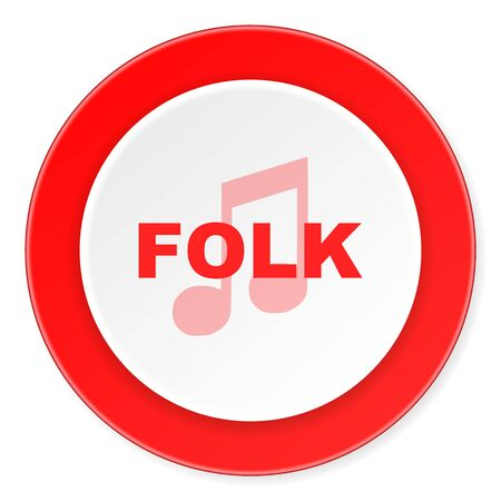 folk music: folk music red circle 3d modern design flat icon on white background