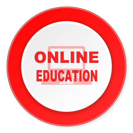 online education: online education red circle 3d modern design flat icon on white background Stock Photo