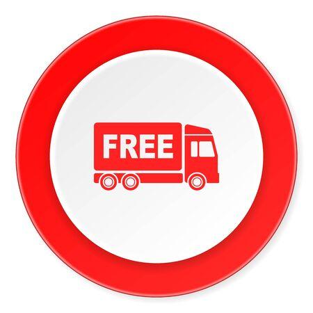 d�livrance: livraison gratuite cercle rouge 3d design moderne ic�ne � plat sur fond blanc